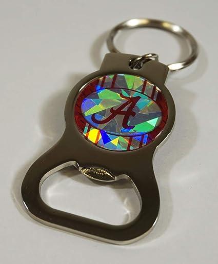 Alabama Crimson Tide Bottle Opener Key Ring ~ Kaleidoscope Logo Reflects Light