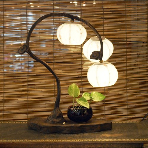 Mulberry Rice Paper Ball Handmade Three Fruit Design Art Shade White Round Globe Lantern Brown Asian Oriental Decorative Bedside Accent Unusual Home Decor Bedroom Table Desk (Fruit Lamp)