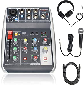 USB Audio Interface Audio Mixer Bundle, 4-Channel, 3-Band EQ, Echo Effects, w/Dynamic Mic + Stereo Headphone + XLR Cable, Ideal for Live Streaming and Podcasting (Phenyx Pro PTX-10B)