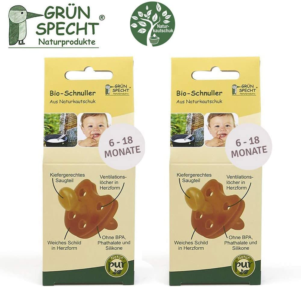 Gruenspecht - Chupete ecológico de caucho natural 6-18 meses // Juego de 2 unidades, escudo suave en forma de corazón, forma ortopédica de pino