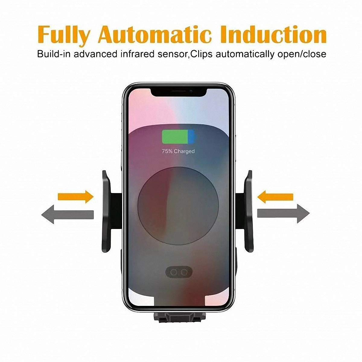 TOOBOSS Wireless Car Charger, Auto-Clamp Qi Car Mount, Fast Infrared Car Mount Wireless Charger 10W Qi Wireless Charger Phone Holder Compatible for iPhone Xs/XR/X /8 Samsung Galaxy S9 S8+ S8 S7 S7ed