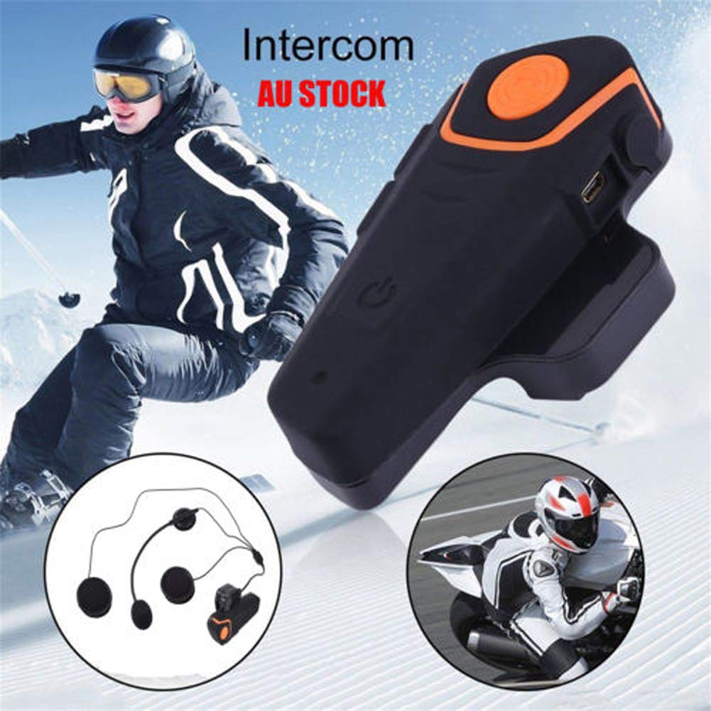 FM Radio et Mains Libres Sarplle Motorcycle Intercom 4.1 Casques Bluetooth Etanche Walkie-Talkie pour MP3