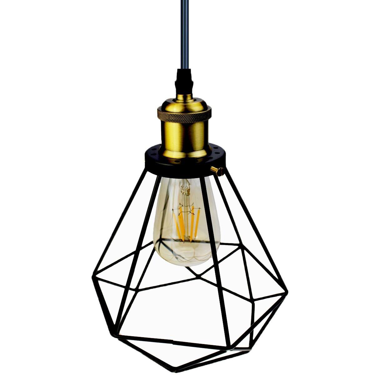 Licperron Industrial Pendant Lighting, Edison Hanging Caged Pendant Light Fixture Vintage Ceiling Lights Wire Pendant Light with Adjustable Black Cord