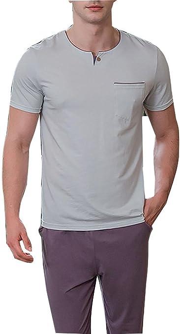 Pijama de algodón para Hombre Conjunto Pijamas de Dormir Pijamas ...