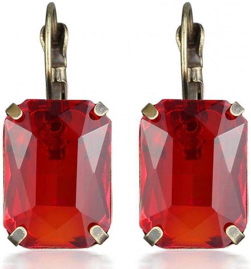 WOZUIMEI Pendiente Colgante Pendiente de Botón Pendiente Pendiente de Piedras Preciosas de Cristal de Navidad Pendientes Mujer
