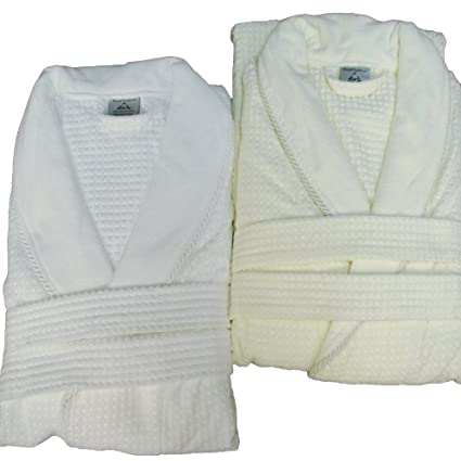 Amazon.com  Waffle Weave Bath Robe with Jacquard Velour Shawl Collar ... cfcc30898