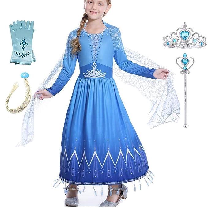 IWFREE Niñas Vestido de Princesa Elsa Disfraz Invierno Elegante ...