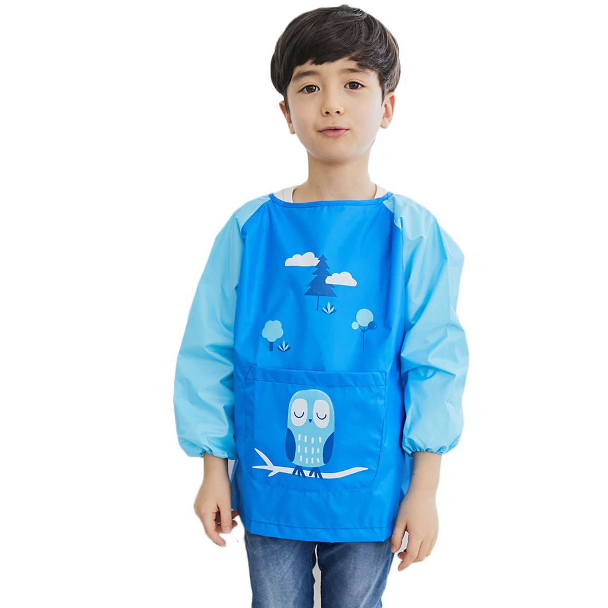 Hosim Kids Painting Apron Kitchen Art Craft Smock with Long Sleeves Large Pocket