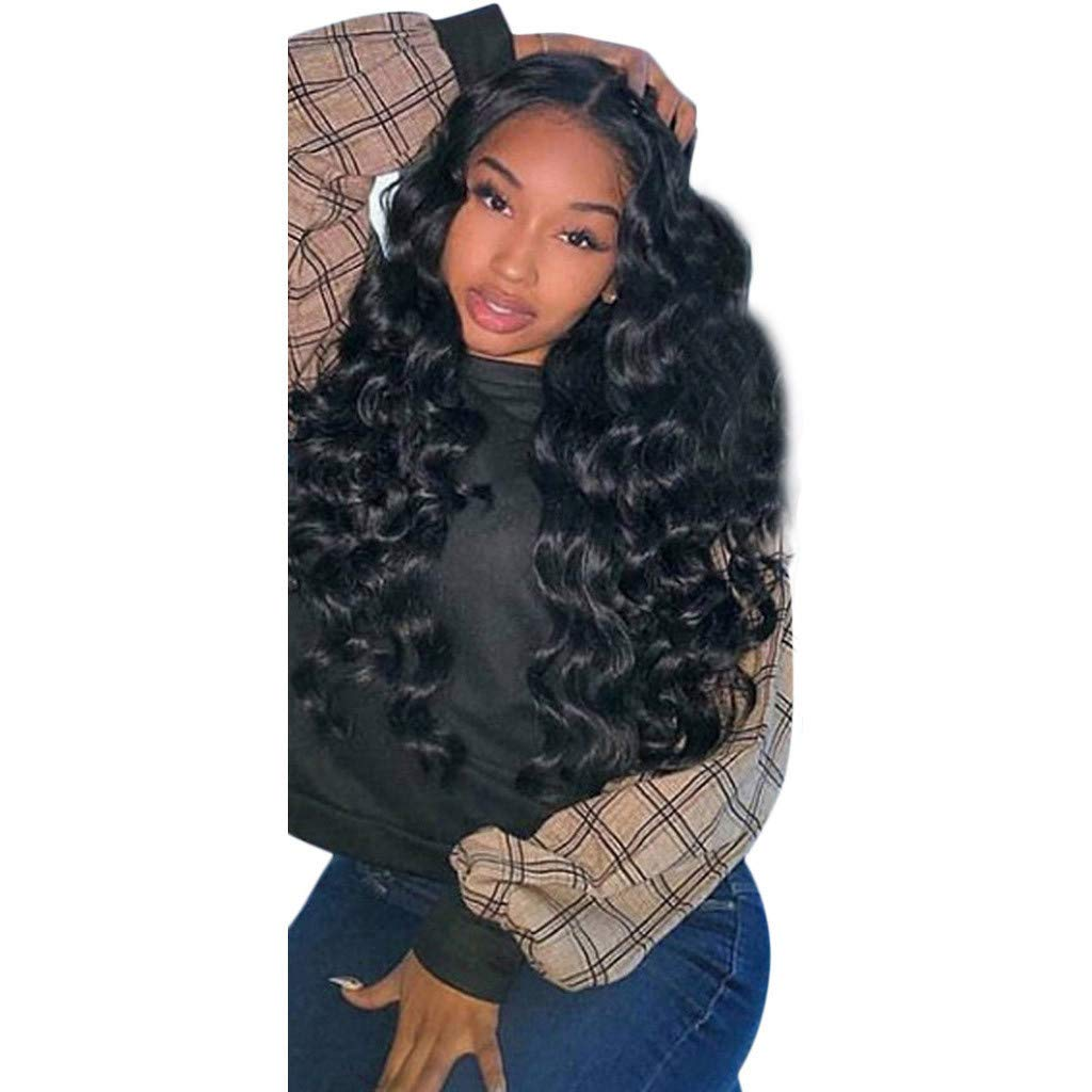 Women Long Wigs, Black Synthetic Baby Hair Synthetic Body Wavy Wigs Looking Natural Middler Part Long Wigs shiipping from USA (Black, 26inch)