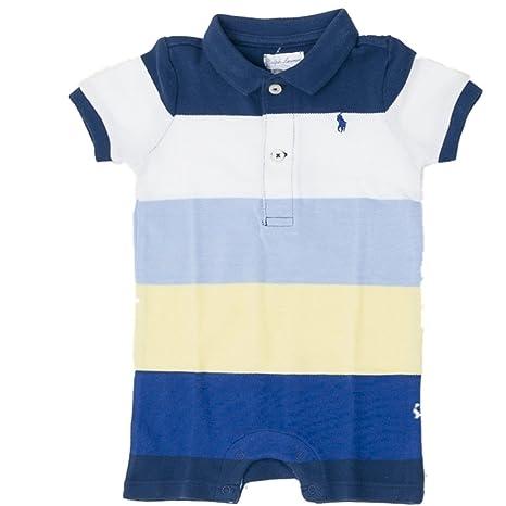 Ralph Lauren Baby Verano Pelele jugador azul amarillo blanco rayas Joven 68