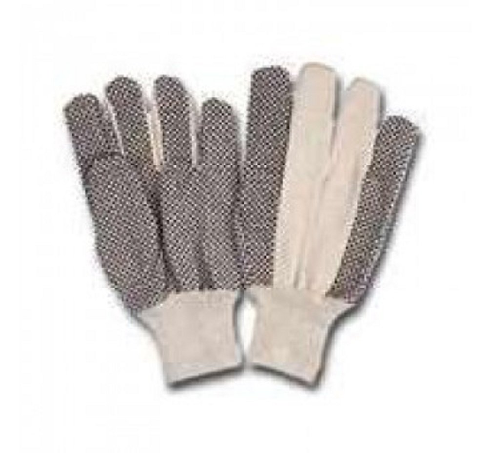 Glove Cotton Baclk Pvc Dotted