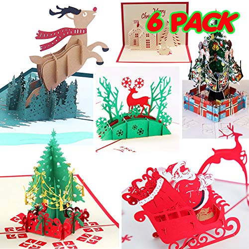 3D Christmas Cards Pop Up Greeting Cards, Funny Unique 3D Holiday Postcards - Gifts for Xmas, Religious Boxed Merry Christmas Thank You Cards - 6 Cards with Envelope (Cards Xmas Crazy)