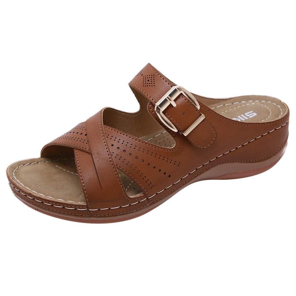 Respctful✿ Women's Comfort Double Buckle Indoor/Outdoor Cork Sandal | Classic Comfortable Slide | Adjustable Buckles Yellow by Respctful_shoes