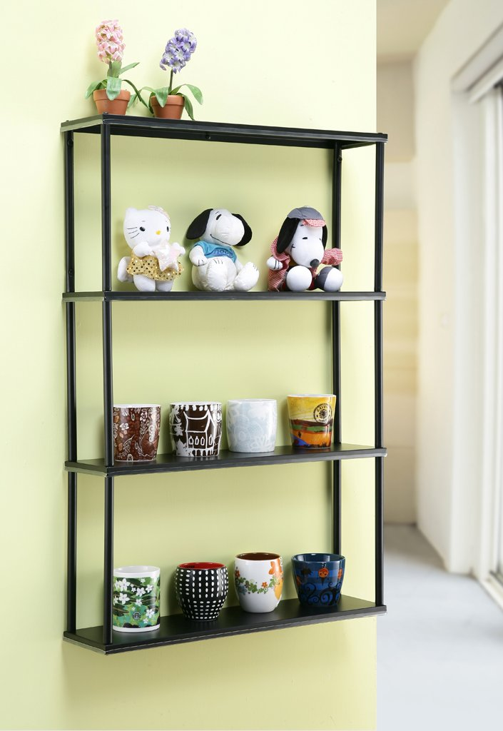 Wall-mounted Steel Shelving Unit - 36'' H X 24'' W X 6'' D - Black - For Kitchen, Storage, or Display Use.