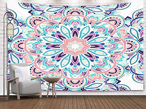 Wall Art Hanging Tapestry,Pamime Home Decor Tapestry Tribal Ethnic Pattern Abstract Background Ornament Retro Banner Card Vintage Dorm Room Bedroom Living Room 80x60 Inches(200x150cm)Bedspread InHouse