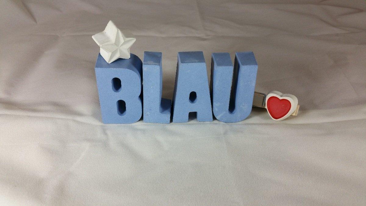 Namenstag oder auch zu Weihnachten. Geburtstag Taufe Ein ausgefallenes Geschenk zur Geburt Beton Steinguss Buchstaben 3D Deko Namen PAUL mit Stern und Herzklammer als Geschenk verpackt