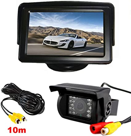 LED Night Vision  12V Back Up Camera Kit Car Reverse Rear View Monitor  4.3/""