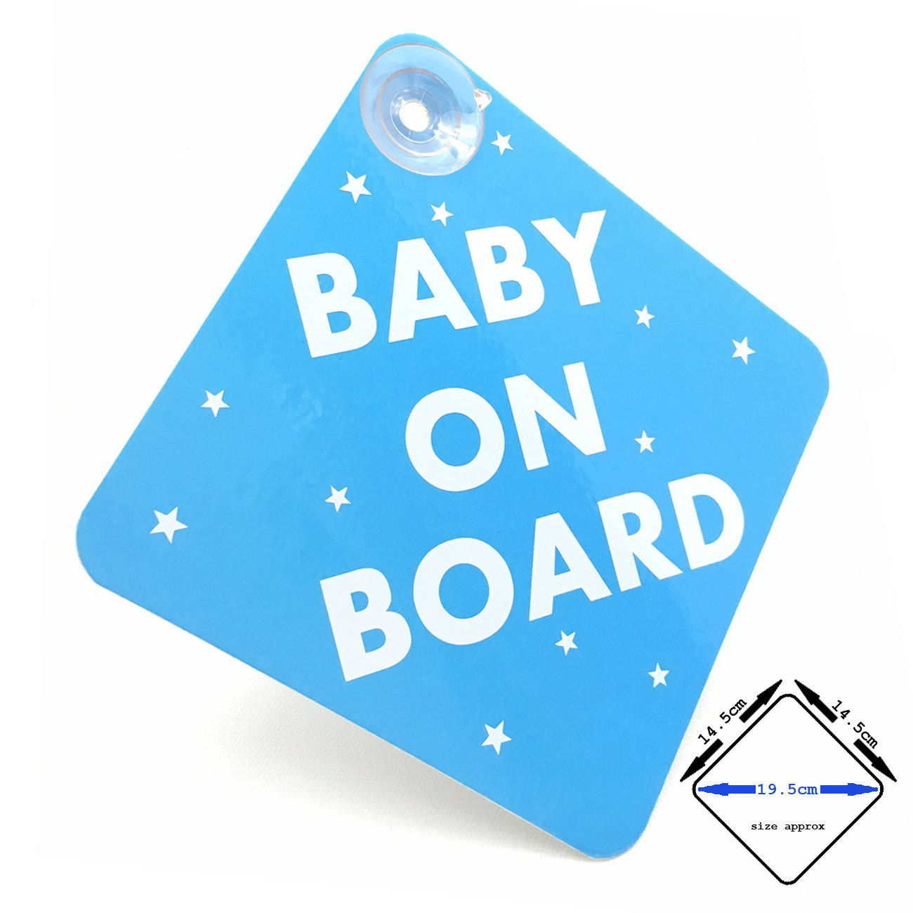 acepoprt BABY ON BOARD car sign with suction cups (gloss Blue/White)