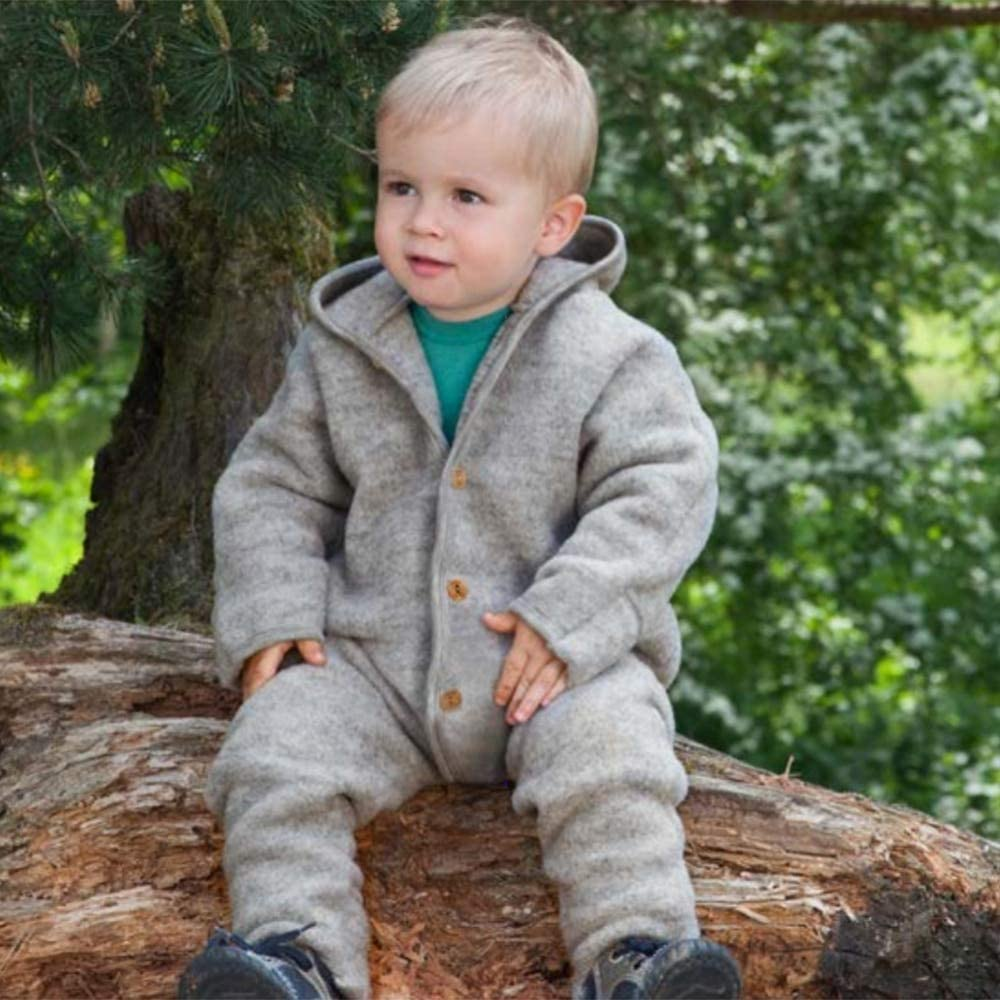 Thermal Footed Coverall Romper with Hood for Toddlers Baby Fleece Snowsuit Organic Merino Wool
