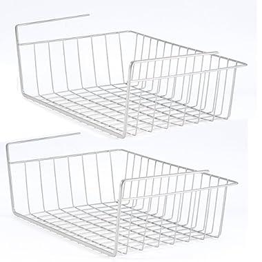 2 Pack Space Saving Under Shelf Basket Wire Rack Organizer Storage Fit Dual Hooks for Kitchen Pantry