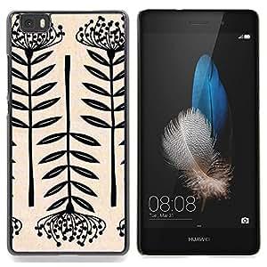 - Plant Art Blossom Black White Simplistic - - Monedero pared Design Premium cuero del tir???¡¯???€????€??????????&fn