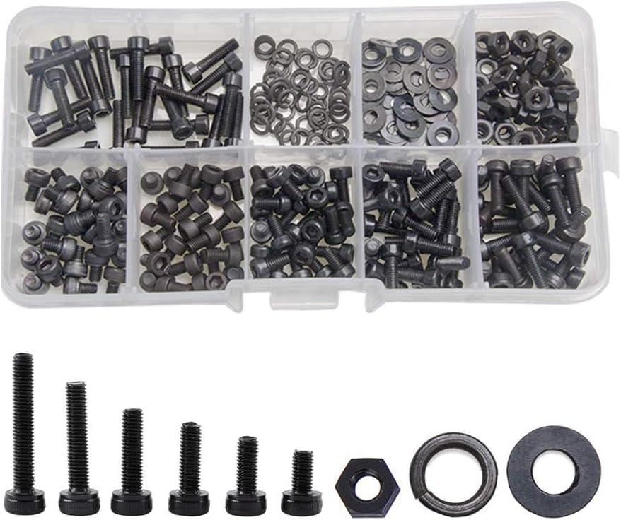Schwarz Edelstahl Schrauben Muttern IWILCS 300 St/ück M3 Schrauben Set Unterlegscheiben Hardware Tools Schrauben Muttern Set mit Kunststoffbox hex Einfa/ßungs Schrauben Muttern