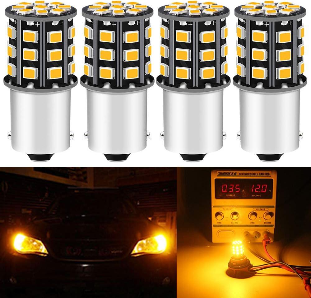 DEFVNSY - Paquete de 4-1156 BA15S 1141 1003 7506 P21W Superbrillante ámbar/Amarillo 12-24 V CC 2835 33SMD Bombillas LED para Intermitentes Luces Intermitentes Luz de Marcador Lateral