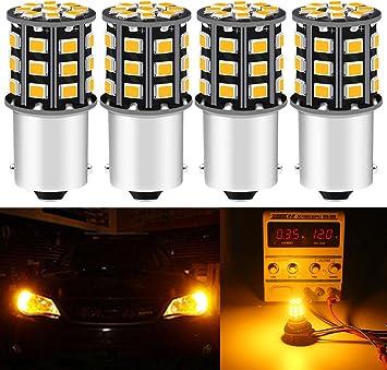 Pack of 4-1056 BAU15S 7507 12496 5009 PY21W Super Bright Amber//Yellow 12-24V DC 3014 144SMD LED Bulbs for Turn Signal Blinker Lights Side Marker Light Qoope