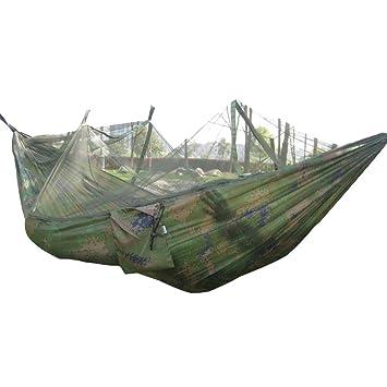 ... y Camping Hamaca para Camping Portátil de Viaje Que acampa Hamaca al Aire Libre Que cuelga la Cama de Nylon mosquitera (Camuflaje): Amazon.es: Jardín