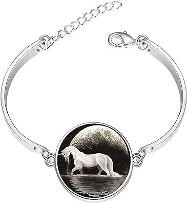LAROK WAZZIT Silver Bangle Bracelet Vintage Books Adjustable Bracelets with Round Charm Glass Pendant Love Gift