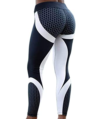 5b1fb6c8dbb760 HISMIS Women 3D Geometric Printed High Waist Slimming Compression Yoga  Pants Leggings Waistband Workout Running Sports