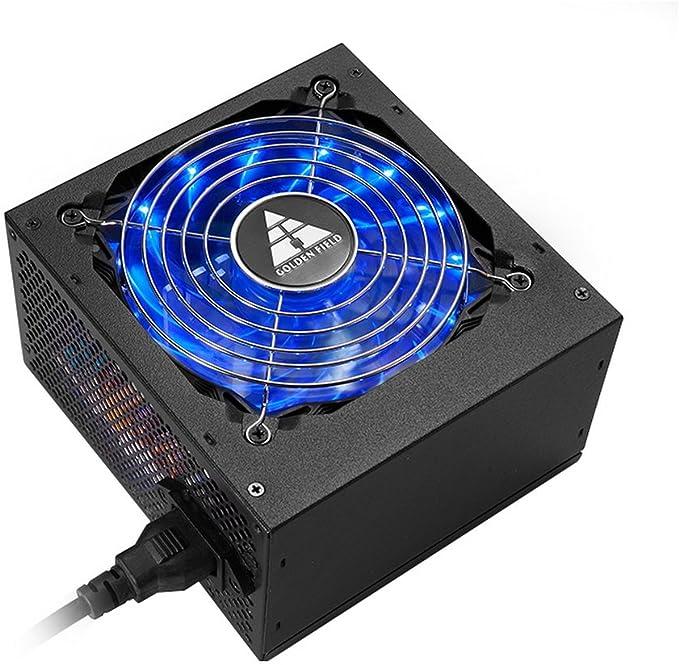 GOLDEN FIELD TRX - Fuente de alimentación Completa Modular ATX PC con Ventilador LED silencioso de 12 cm para Ordenador de sobremesa PC 600W