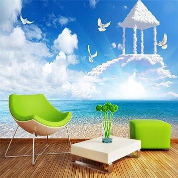 Mural Fotomural Papel Pintado Fondo De Pantalla Personalizado 3D Vista Al Mar Escalera Celestial Murales De Papel Tapiz Sala De Tv Fondo 3D Papel De Parede @ 430 * 300 Cm: Amazon.es: