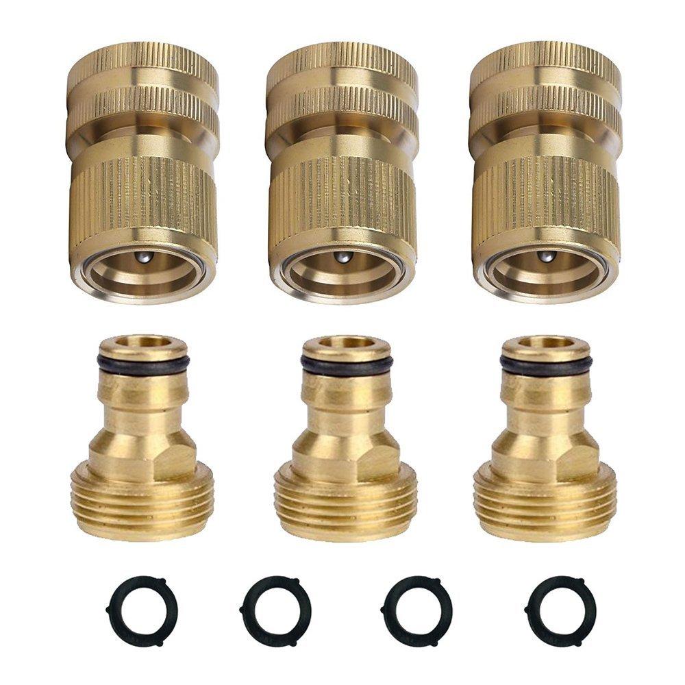 HQMPC Garden Hose Quick Connectors Garden Hose Connectors Brass Quick Hose End Connectors (3/4'' 3SETS)