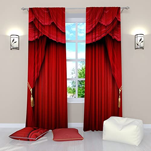 Factory4me Red Curtains Collection Theater Curtains Red Theater Scene. Window Curtain Set of 2 Panels Each W52 x L96 Total W104 x L96 inches Drape