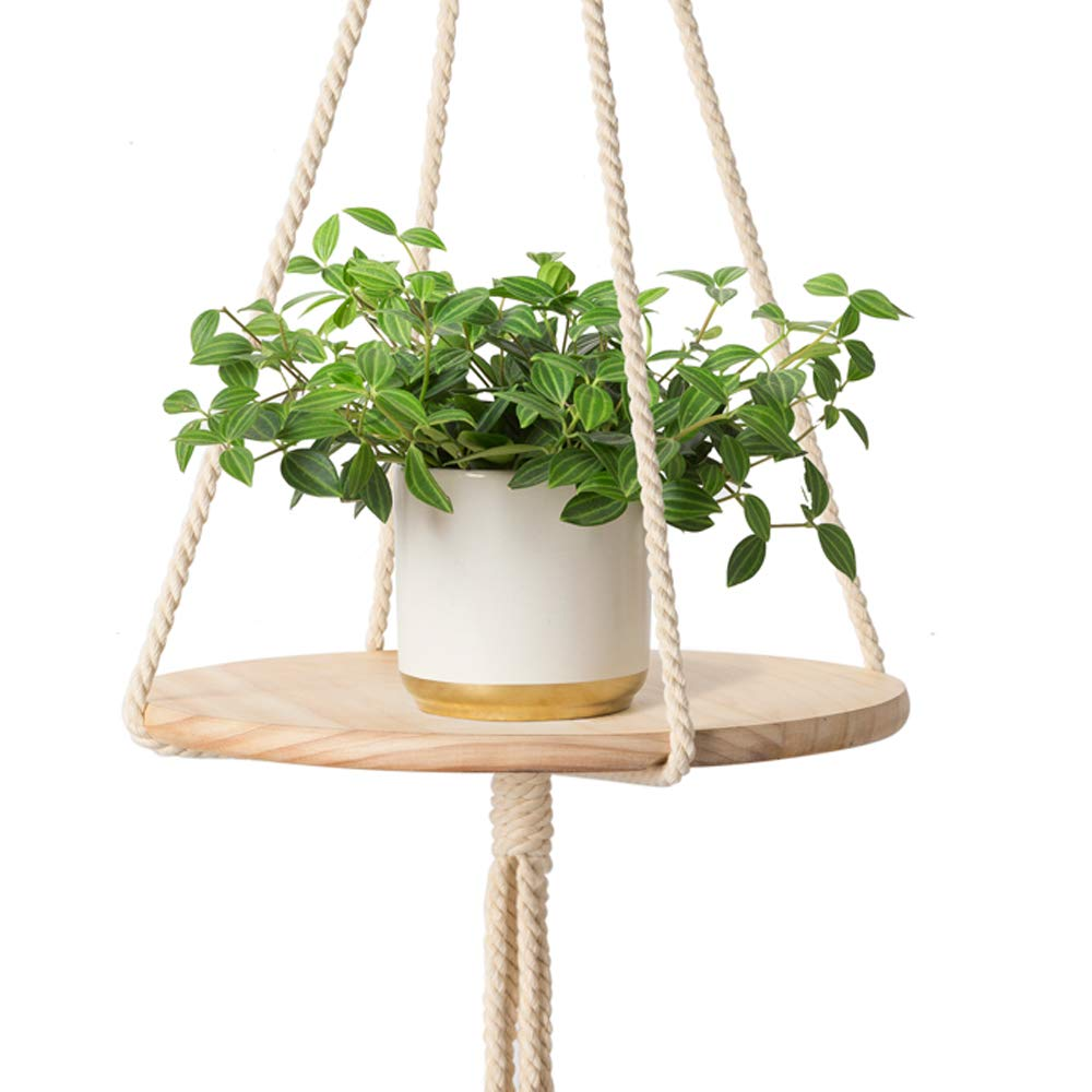 Mkono Wood Hanging Shelf Indoor Macrame Plant Hanger Decorative Flower Pot Holder Boho Home Deco 40 Pots Planters Container Accessories Gardening