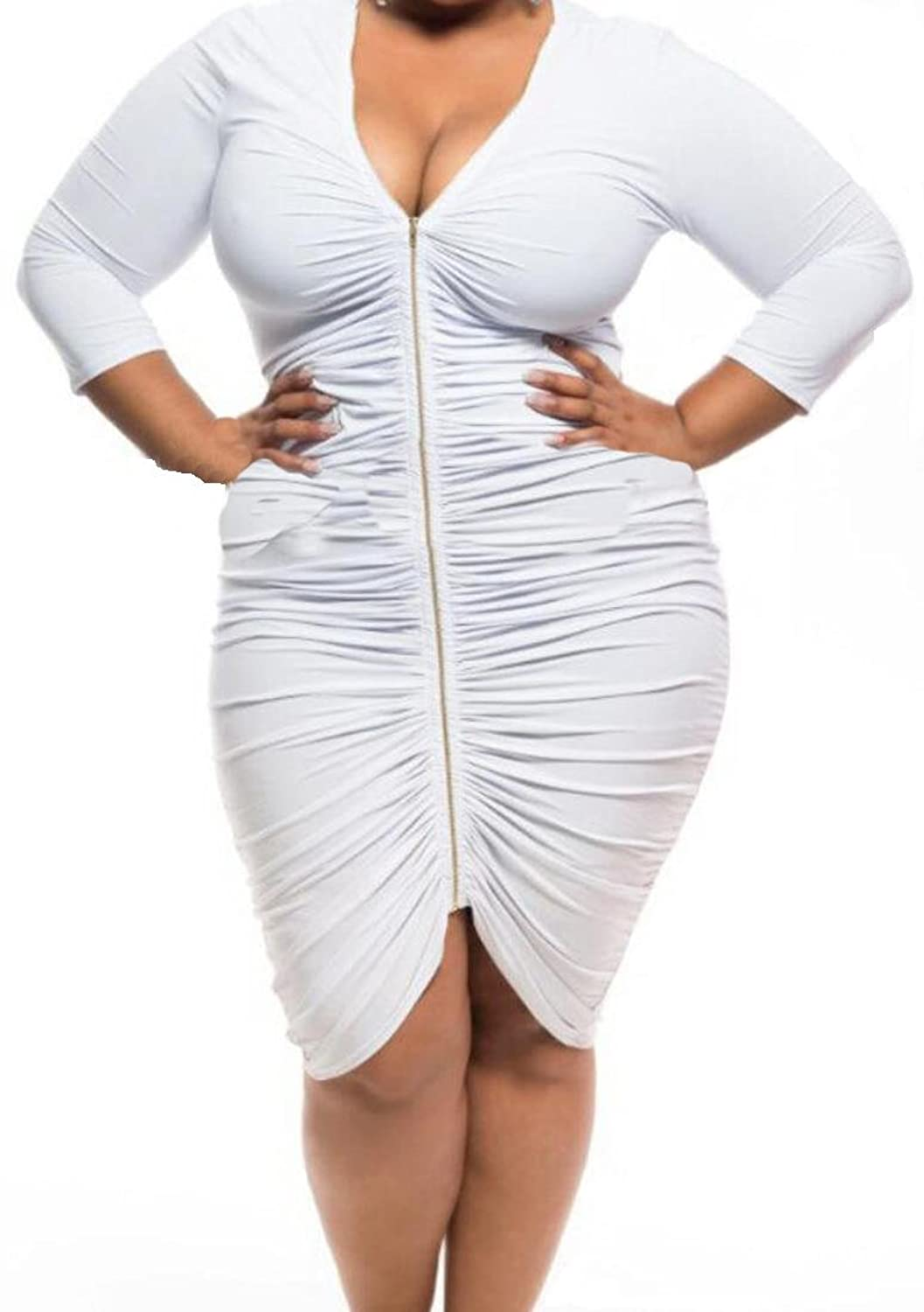 MLG Womens Sexy V-neck Long Zip 3/4 Sleeve Plus Size Party Dress