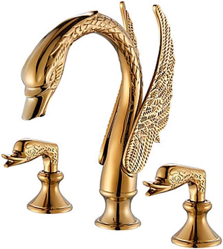 WY-YAN De gama alta de latón de aleación de zinc de baño WC grifo del fregadero Golden Swan Tres agujero grifo del baño del grifo del lavabo Bastante
