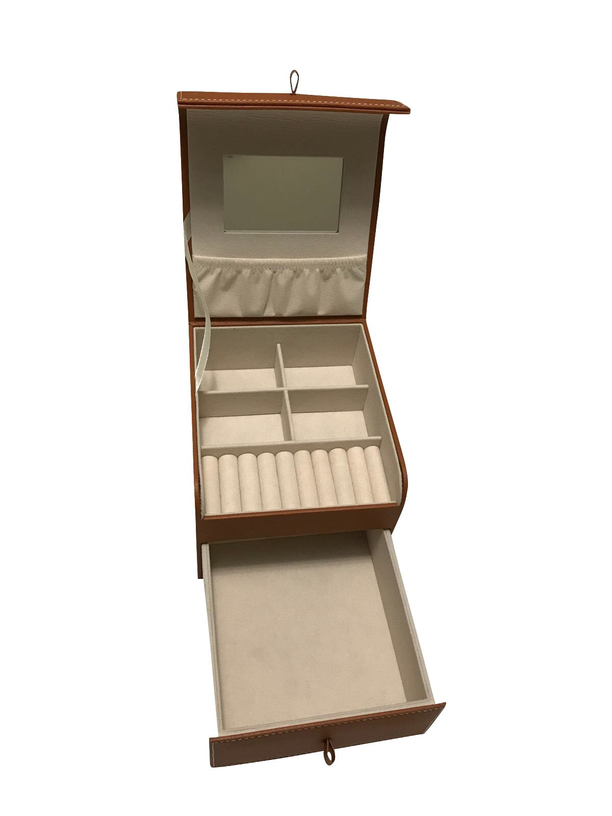 Jewelry Box Organizer, Eco-friendly Handmade with Mirror, Double Compartment (Brown)