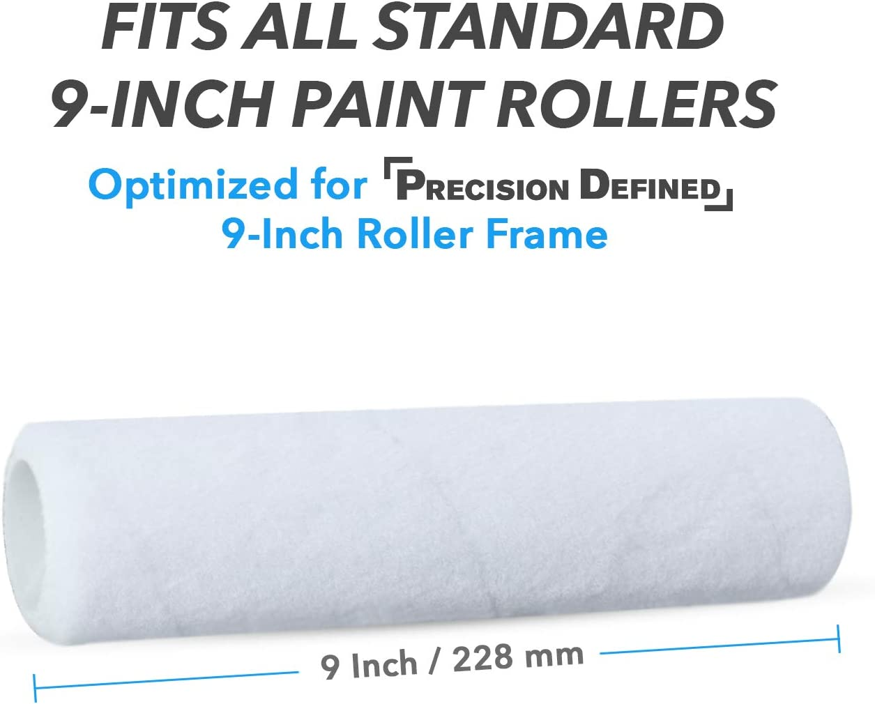 Precision Defined 9-inch Paint Roller Covers Refill 6-Pack Replacement Covers for Roller Brushes Set
