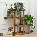 Showy balcony wooden flower stand wooden floor living room multilayer balcony multi-meat flowerpot rack-B 281026inch(722566cm)