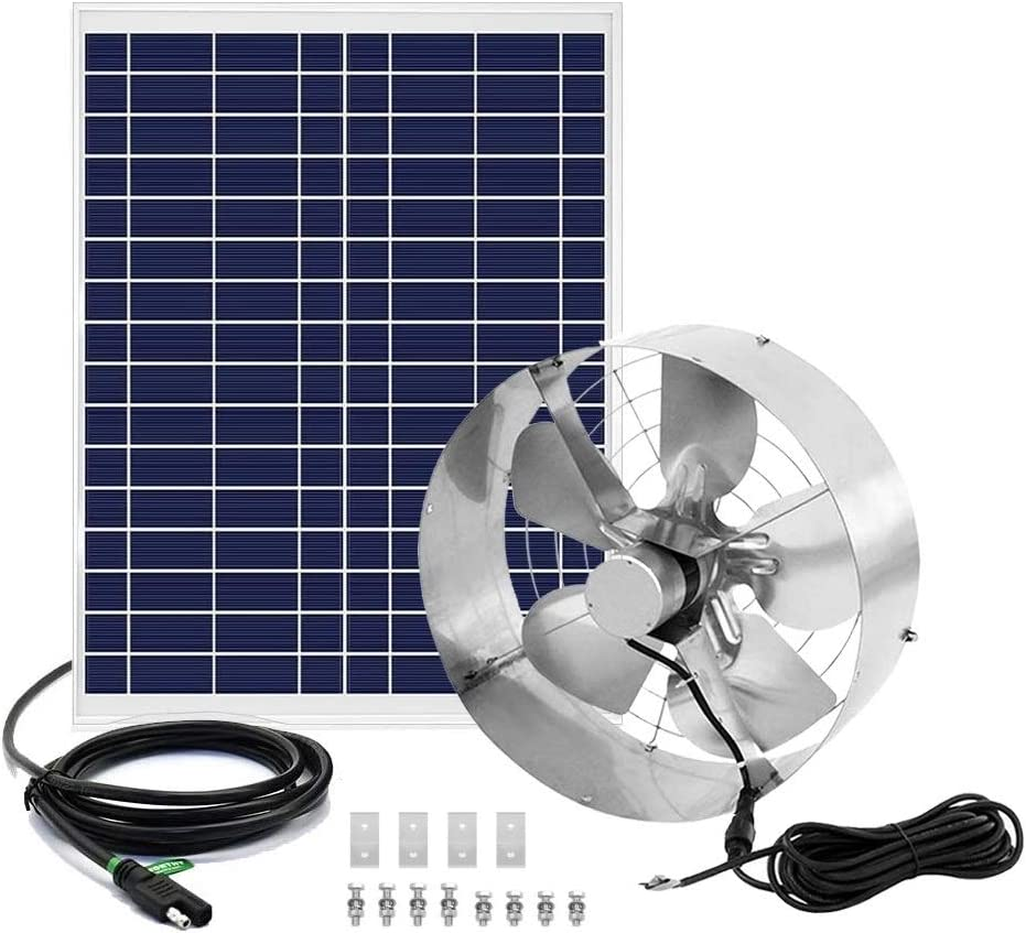or Garage Ventilation Powerful Vent Fan 12 inch Cooling up to 4,000 SQF Coverage Area Pumplus Large Flow 3000CFM Solar Powered Attic Fan 100W Solar Panel +16FT Cable for Home Attic Shed