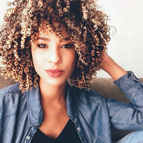 LMY Short Afro Kinky Curly Synthetic Wigs For Black Women Ombre Blonde Color Natural Hair Wigs With Bangs Cosplay Hair Cut (ombre blonde)