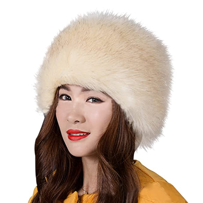 5fc49106 Kafeimali Women's Faux Fox Fur Russian Cossack Ski Christmas Caps Cable  Knit Beanie (Beige)