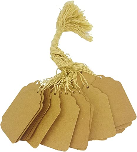 or Boutique 1 3//4 x 1 1//8, Natural Kraft Events 100 Pcs of Paper String Tags Promotions Elegant String Tags perfect for Gifts Price Tags