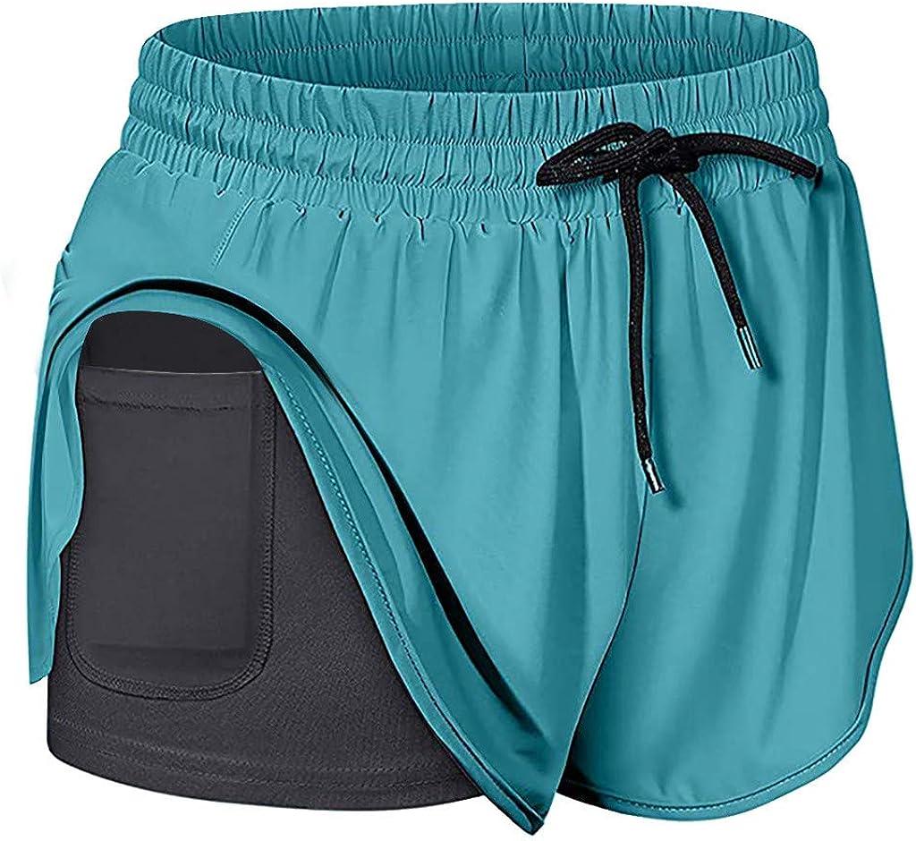 TOPUNDER Yoga Shorts Womens Run Elastic Waist Workout Shorts with Liner Pockets Sport Pants