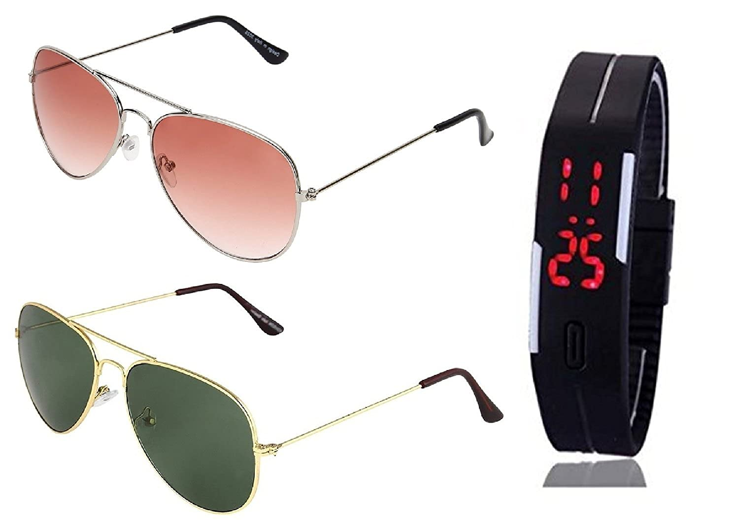 083a58c35a48 SHEOMY SUNGLASSES 2 COMBO OF SILVER ORANGE AVIATOR SUNGLASSES AND AVIATOR  GOLDEN GREEN SUNGLASSES WITH TPU BAND RED LED DIGITAL BLACK DIAL UNISEX  WATCH Best ...