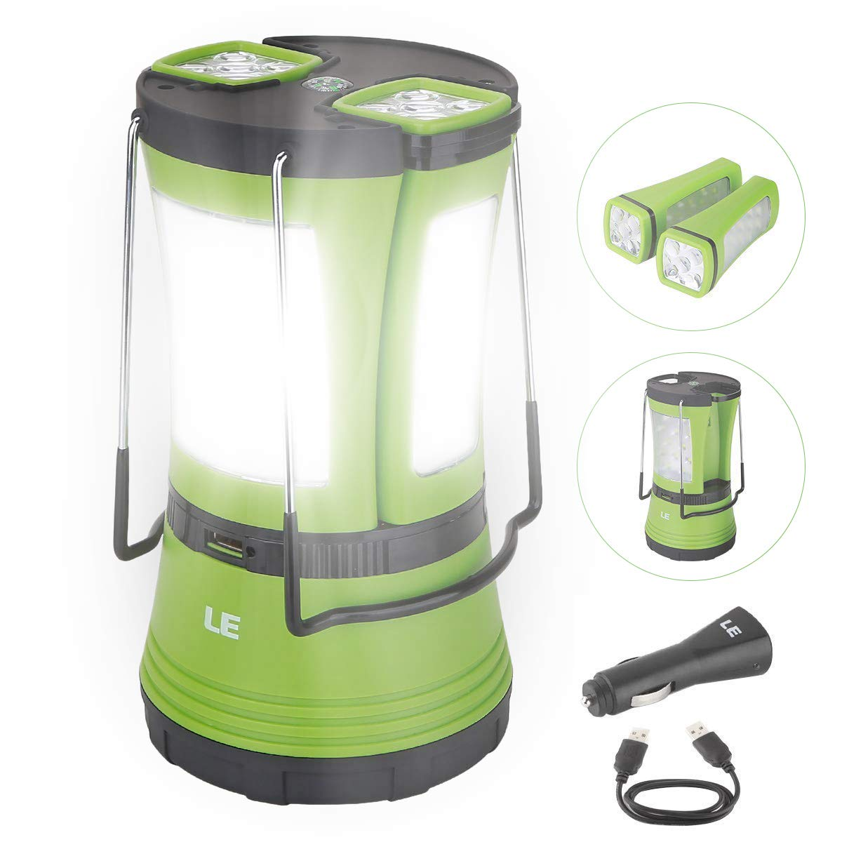 LE LED Camping Lantern Rechargeable, 600LM, Detachable Flashlight, Perfect Lantern Flashlight for Hurricane Emergency, Hiking, Fishing and More, USB Cable and Car Charger Included by Lighting EVER