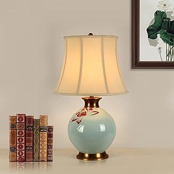Juli Tischlampe Keramik Tischlampe Blau Glasur Handbemalt