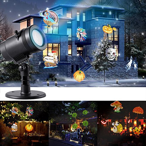 Halloween Christmas LED Projector Light, niceEshop(TM) New 2017 Waterproof Landscape Spotlight with 14 Switchable Slides for Christmas Halloween Birthday Wedding Party Yard Wall Home (Halloween Yards 2017)